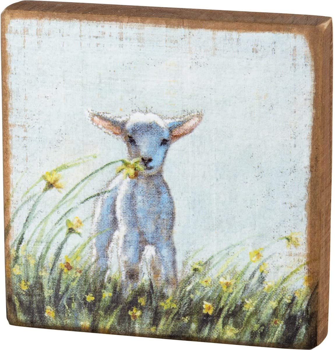 Primitives by Kathy, 105425, Lamb Wooden Block Sign, Easter