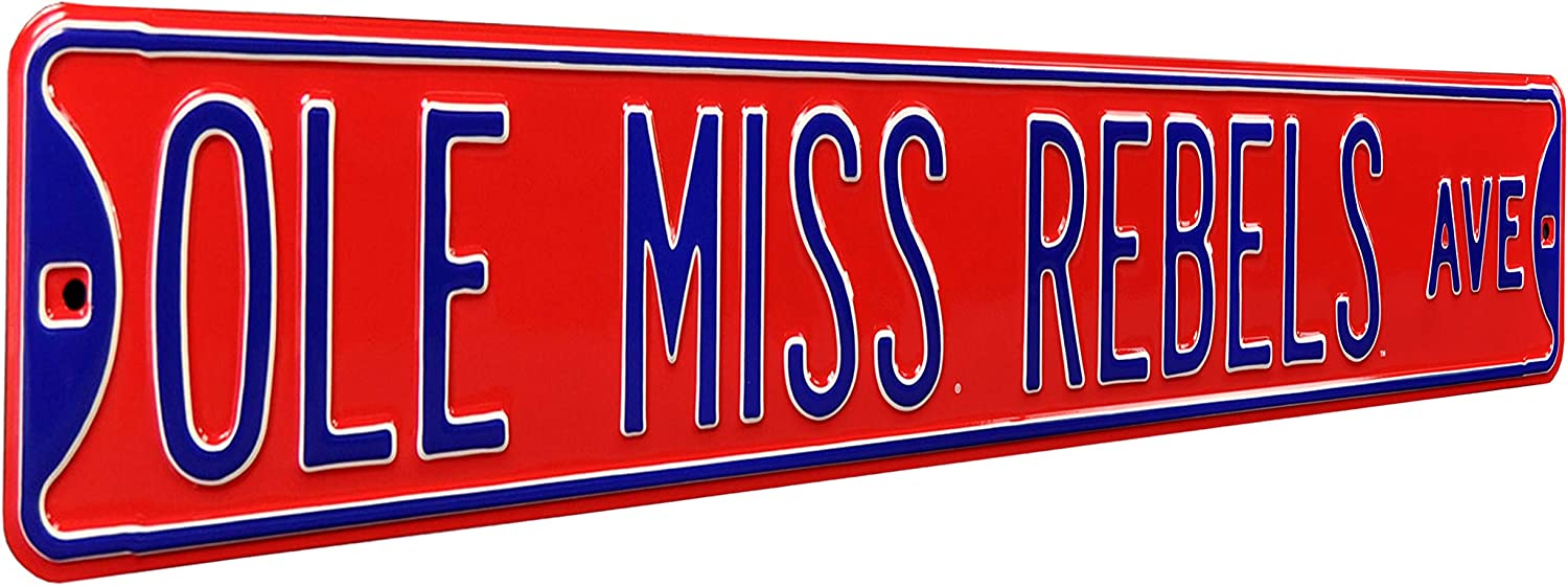 Authentic Street Signs 70106 Ole Miss Rebels Ave, Heavy Duty, Metal Street Sign Wall Decor, 36