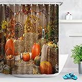 LB Harvest Theme Thanksgiving Pumpkin Shower Curtain Farmhouse Style Yellow Red Fall Leaves with Pumpkins Fall Bathroom…
