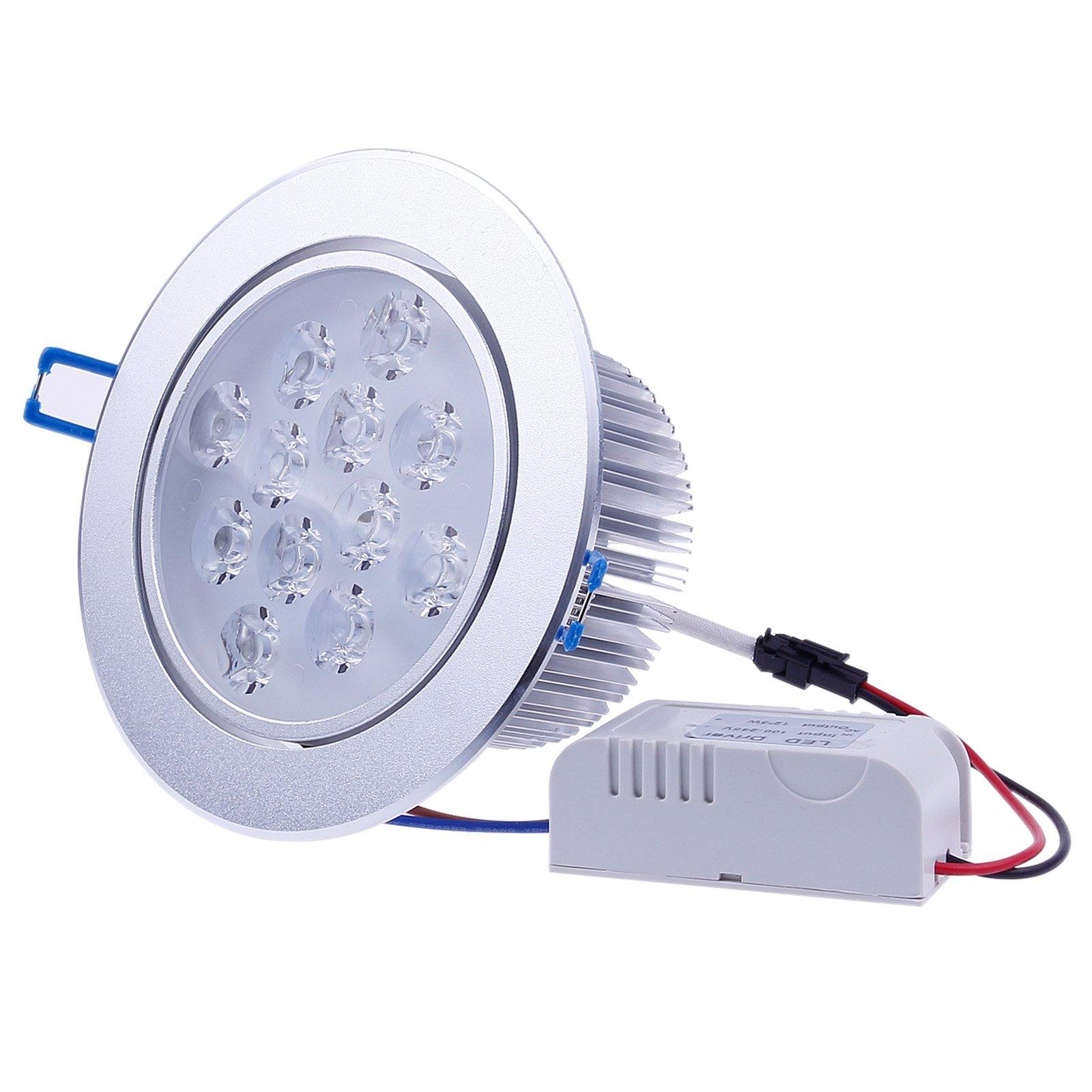 LEMONBEST New Design 110V~240V Dimmable 12W LED Ceiling Light Downlight Recessed Lighting, Warm White