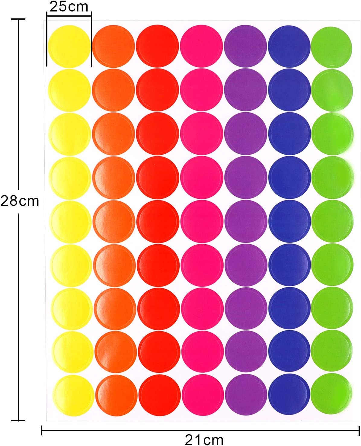 25 Sheet Pack of 1575 1-inch Colored Dots Sticker Round Color Coding Labels Circle Dot Stickers,7 Bright Neon Colors,Print or Write 8.5 x 11 Sheet