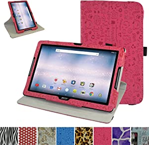 "Acer Iconia One 10 B3-A30 Rotating Case,Mama Mouth 360 Degree Rotary Stand with Cute Cover for 10.1"" Acer Iconia One 10 B3-A30 Android Tablet, Rose Red"