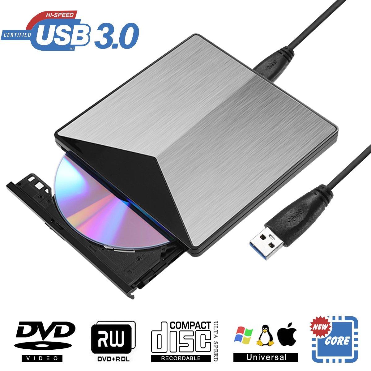 External DVD Drive, BOSLISA USB 3.0 DVD CD Burner, CD-RW Player, Optical DVD Superdrive High Speed Data Transfer for Laptop Air iMac Desktop PC Support Windows10 /8/7 /XP/Mac OS (Silver) (Silver)