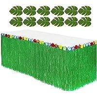 Adorox Artificial de tela recubierto verde Tropical hojas vegetal Luau hawaiano decoración para fiestas
