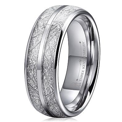 Three Keys 8mm Tungsten Wedding Ring for Men Domed Imitated