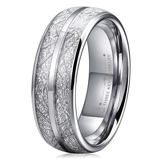 Three Keys 8mm Tungsten Wedding Ring For Men Domed Imitated Meteorite Inlay Mens Band