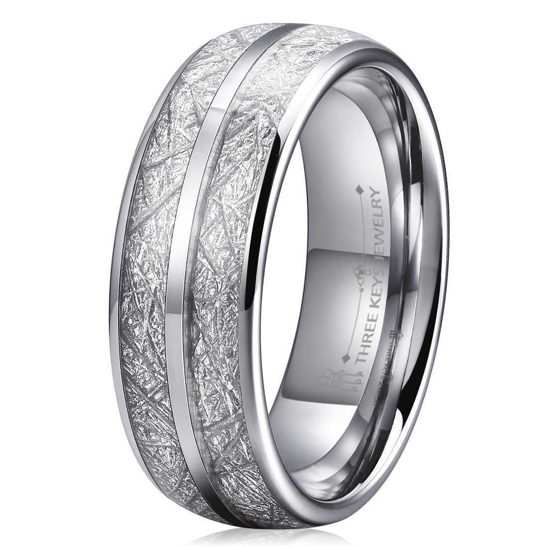 Three Keys 8mm Tungsten Wedding Ring for Men Domed Imitated Meteorite Inlay Mens Meteorite Wedding Band Engagement Ring Promise Ring Size 8.5
