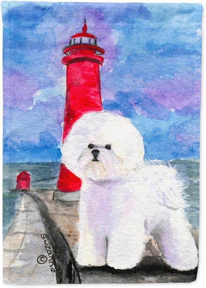 Caroline's Treasures SS8891GF Lighthouse with Bichon Frise Flag Garden Size, Small, Multicolor