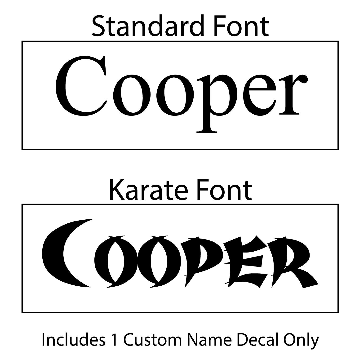 Personalized Custom Name Decal /& Accents for Martial Arts Belt Holders