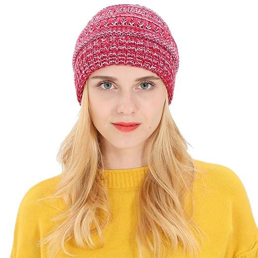 RNTOP Women Horsetail Cap Fashion Solid Knitting Wool Warm Hat ... 2ebefba474b6