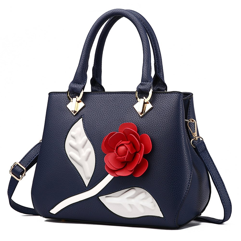 Women's Top Handle Tote Handbags 3D Rose Flowers Cross-body Purse Shoulder Bags