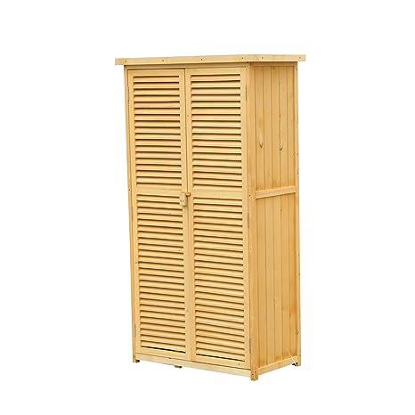 Outsunny doble puerta cobertizo de jardín herramienta de almacenamiento al aire libre Patio Jardín Cobertizo Madera