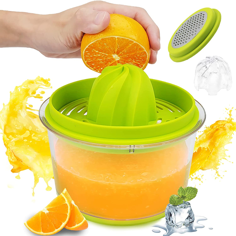 4 in 1 16OZ Multi-Functional Citrus Orange Juicer,Green Lemon Manual Juicer With Built-in Measuring Cup,Cheese Grater,Egg Separator and Anti-Slip,Lemon Manual Hand Squeezer for Bar, Kitchen