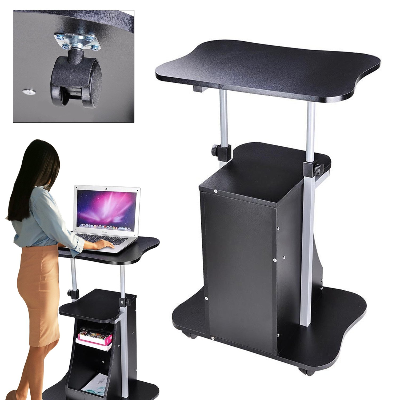 Koval Inc. Rolling Laptop Desk Cart Adjustable Height W Storage (Black)