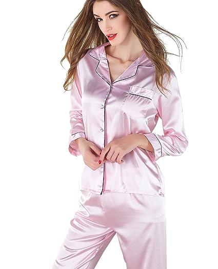 5ab5df78d VlSl Women's Satin Sleepwear Two-Piece Long Sleeve Pajama Set with Long Pjs  Pants (