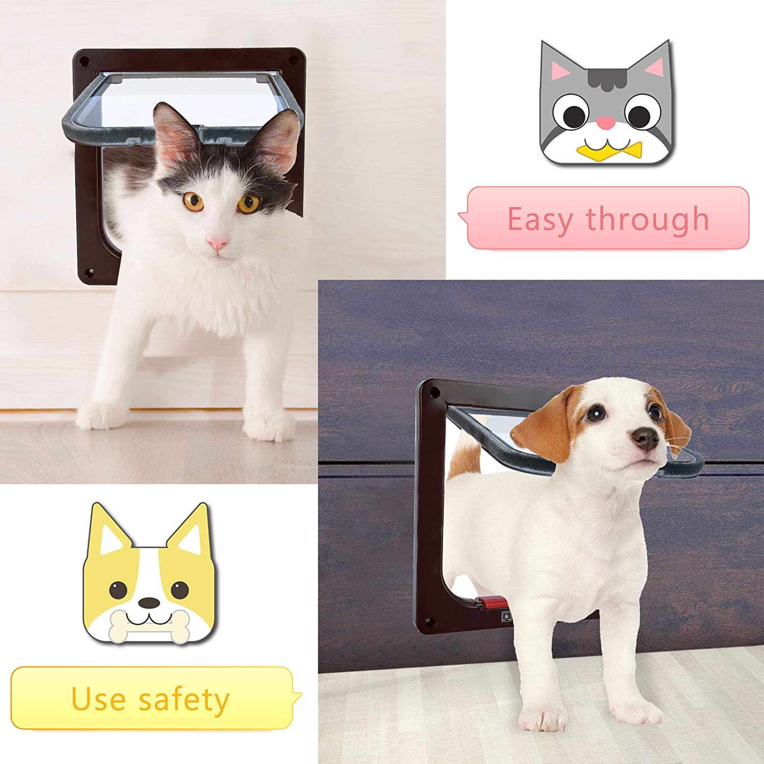 Pet Door for Cats and Dogs KATELUO Cat Flap Puppy Door with 4 Way Manual Locking 3 Size and 3 Colors
