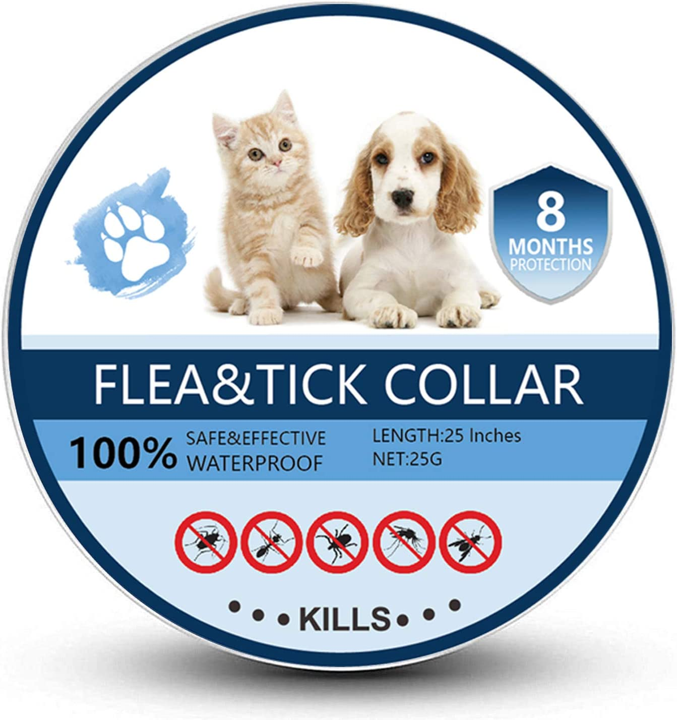 Bomior Flea and Tick Collar for Dogs & Cats - 8 Months Protection - Safe, Adjustable and Waterproof Design - Natural Ingredients Removes Fleas and Tick...