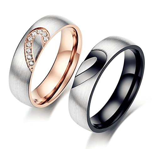 15190e2323 Amazing Titanium Stainless Steel Loving You Wedding Band Set Anniversary Engagement  Promise Couple Ring: Amazon.ca: Jewelry