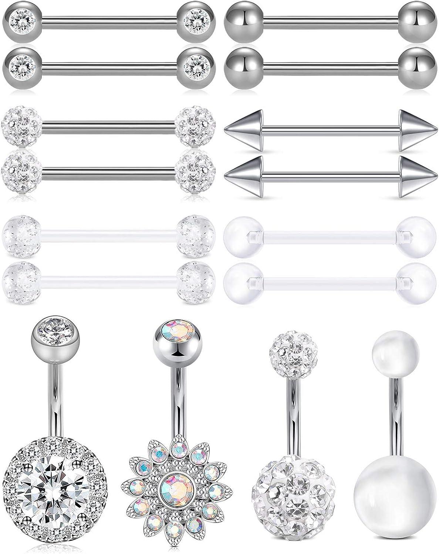 Udalyn 6 Pairs Stainless Steel Nipplerings Tongue Rings CZ Crystal Barbell Heart-Shape Piercing Jewelry 14G
