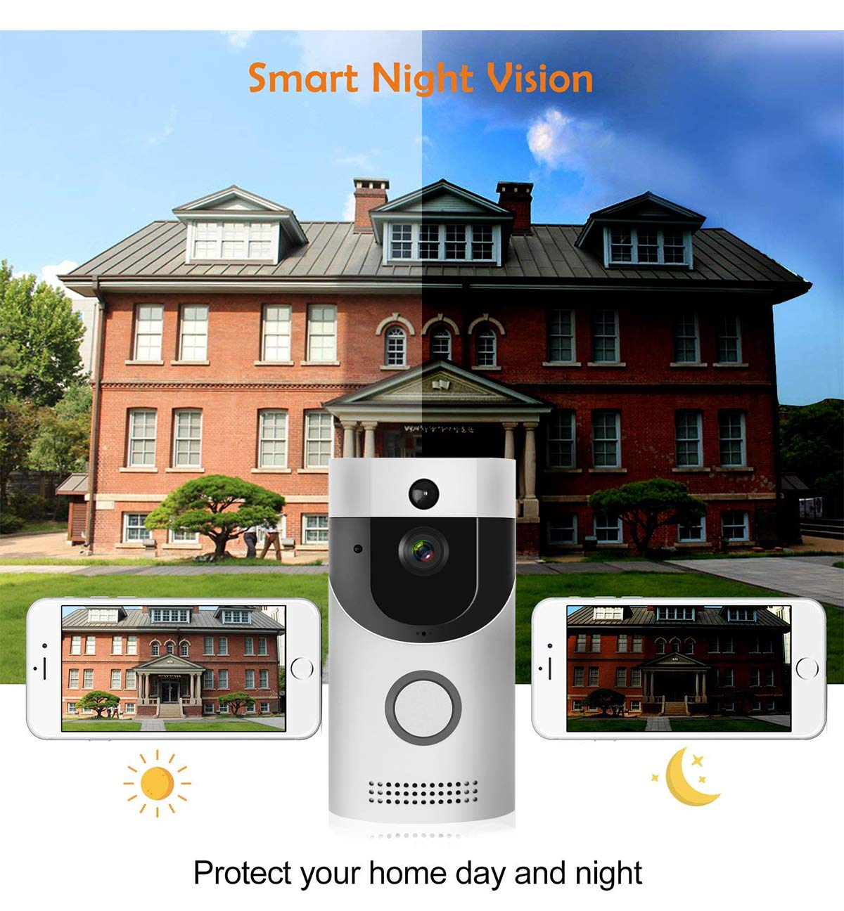 WIFI Video Doorbell, Smart Doorbell HD Security Camera with Chime, Real-Time Two-Way Talk and Video, Night Vision, PIR Motion Detection, ultra-slim design and App Control for IOS and An (Silver) by KLORNO (Image #5)