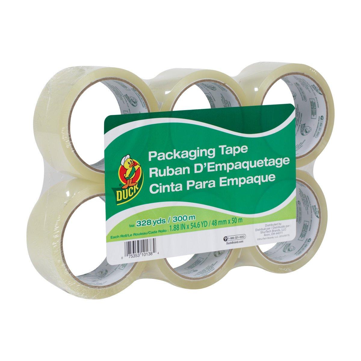 Duck Brand Standard Packaging Tape Refill, 6 Rolls, 1.88 Inch x 54.6 Yard, Clear (1362513)