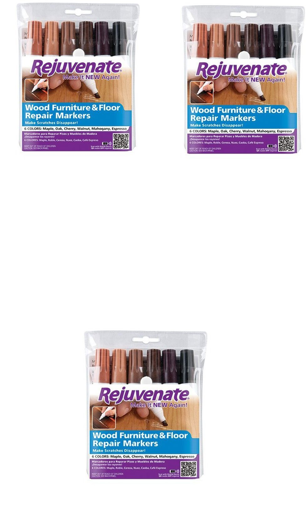 Rejuvenate Wood Furniture & Floor Repair Markers Make Scratches Disappear in Any Color Wood - 6 Colors; Maple, Oak, Cherry, Walnut, Mahogany, Espresso (3 pack) by Rejuvenate
