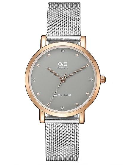 Q&Q Reloj Analógico para Mujer de Cuarzo con Correa en Acero Inoxidable QQA21J412Y