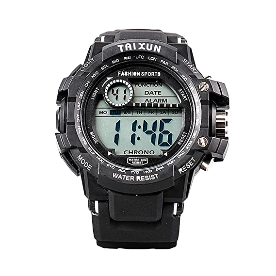 Amazon.com: TAIXUN Unisex Fashional Military Water Resistant Electric Wrist Watch with Black Band Digital LED Sports Watch White: Watches