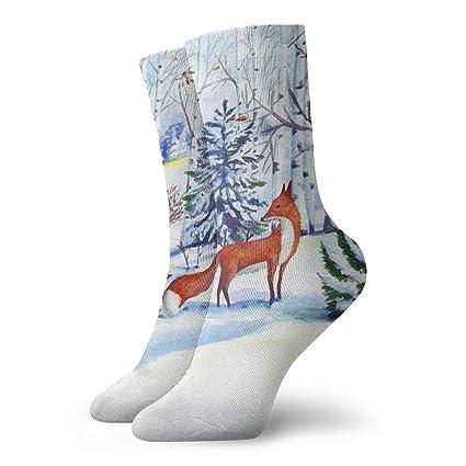 WEEDKEYCAT Christmas Moon Stars Deer Adult Short Socks Cotton Cool Socks for Mens Womens Yoga Hiking Cycling Running Soccer Sports