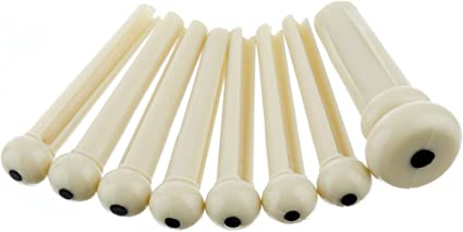 Ivory bridge pin set for acoustic guitar cream string pegs pins peg