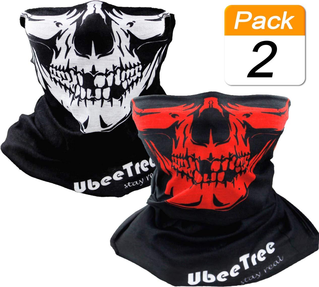 2 Packs Safety Reflective Riding Skull Face Mask Bandana Fishing Neck Gaiter Sun UV Dust Protection Windproof Ski Face Cover UbeeTree