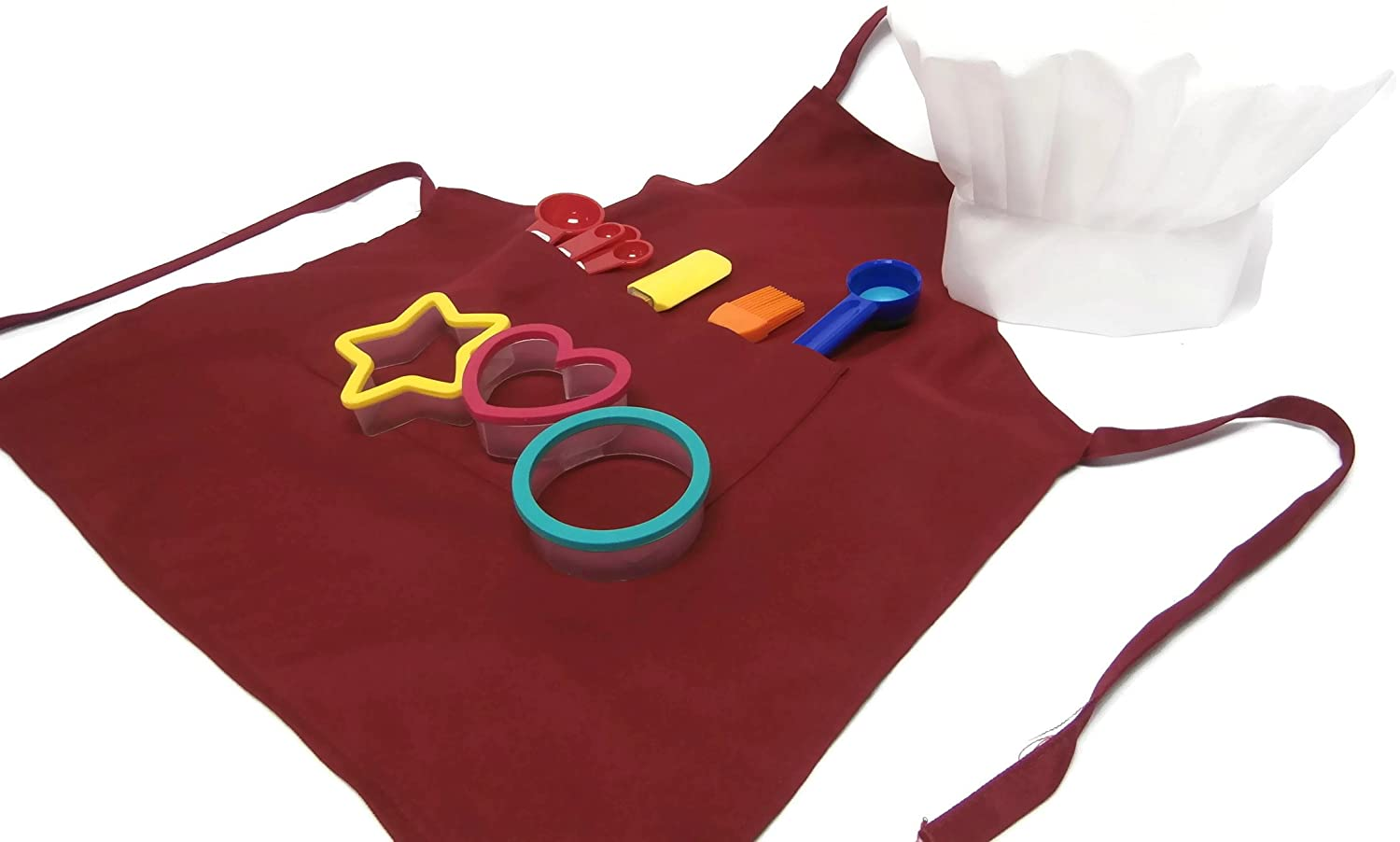 Kids Baking Set Apron Chefs Hat Cookie Cutters Scoop Measuring Spoons Spatula Brush (Red)