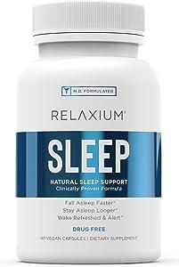 Relaxium Natural Sleep Aid   Non-Habit Forming   Sleep Supplement for Longer Sleep & Stress Relief w/Magnesium, Melatonin, GABA, Chamomile, Valerian (60 Vegan Capsules, 30 Day Supply)