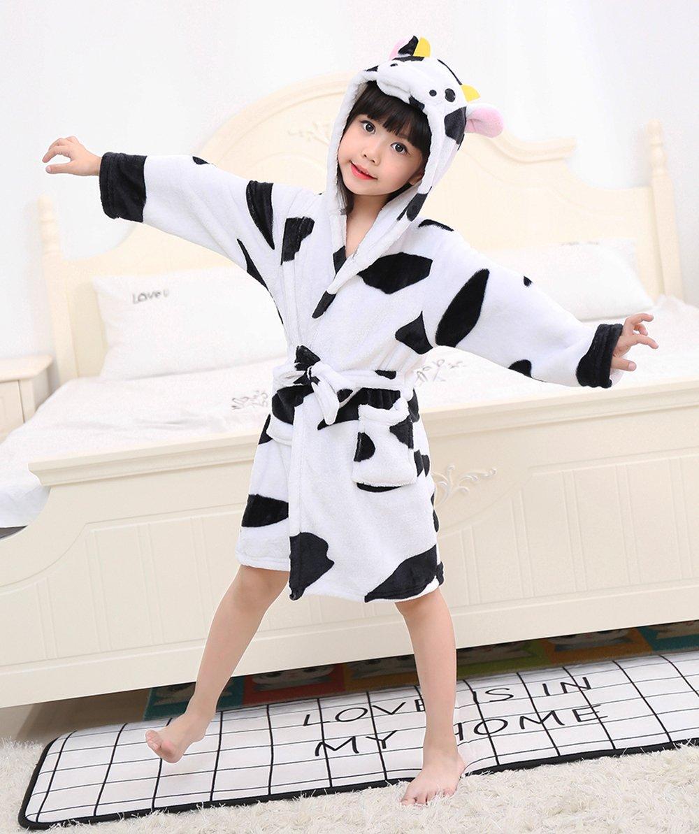 LANTOP Kids Soft Bathrobe Comfy Unicorn Flannel Robe Unisex Hooded Gift All  Seasons Sleepwear 1d618e45e