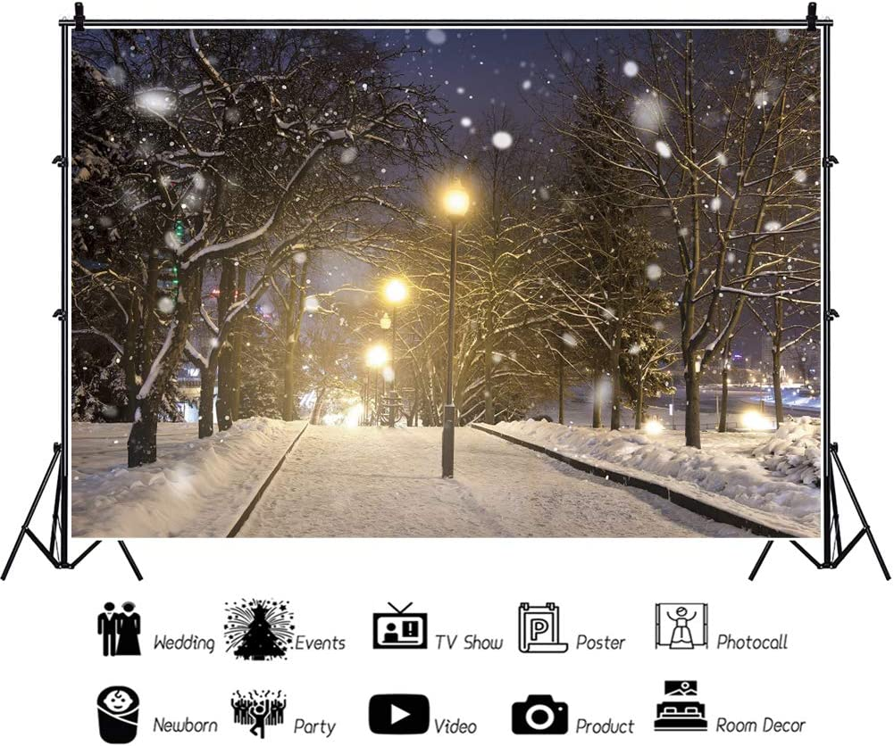 YongFoto 12x8ft Winter Scenery Backdrop Snow Natural Wonderland Tree Glitter Bokeh Night Background for Photography Party Shoot Banner Portrait Photo Studio Props Wallpaper Decoration