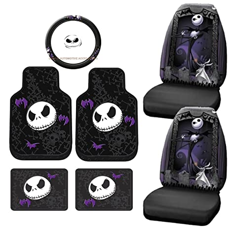 7pc Nightmare Before Christmas Jack Skellington Seat Covers Rubber Floor Mat Set
