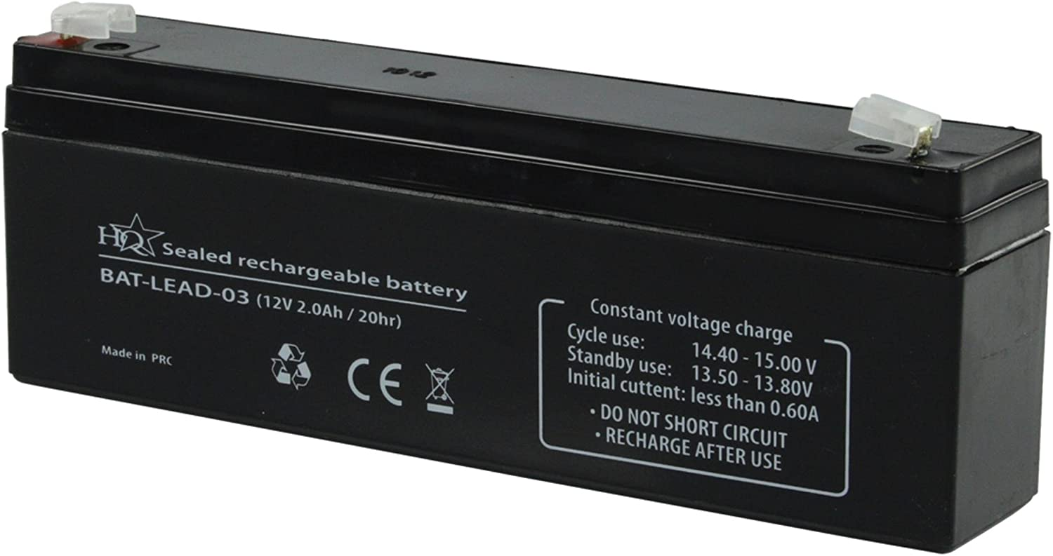 HQ Batterie au Plomb-acide recargable 12 V 2000 mAh 178 mm x 34 mm x 66 mm de HQ