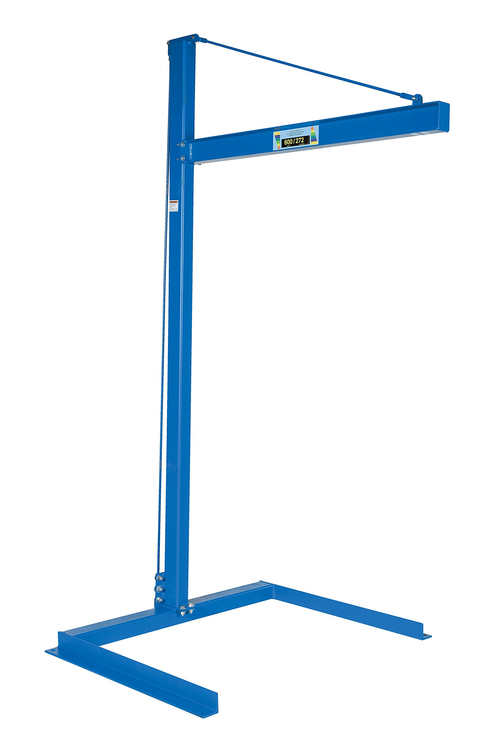Vestil CJIB-6 Mini Overhead Cantilever Jib Crane, Freestanding, Steel, 600 lb. Capacity, 106-11/16 x 53-3/4 x 63-1/8 inches