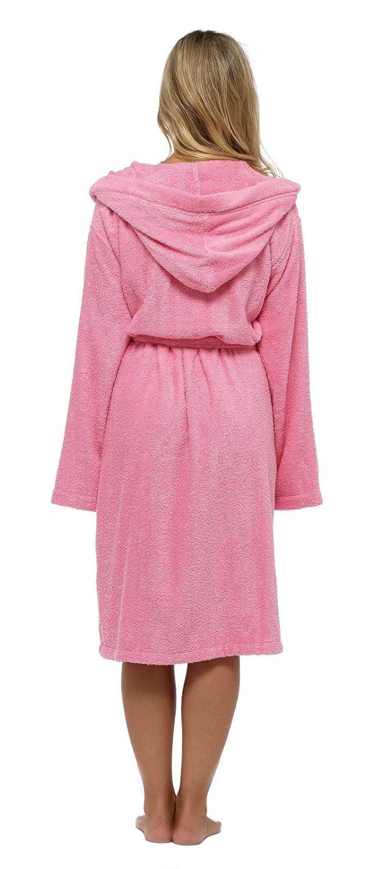 Lora Dora Womens 100/% Cotton Bath Robe Hooded Dressing Gown