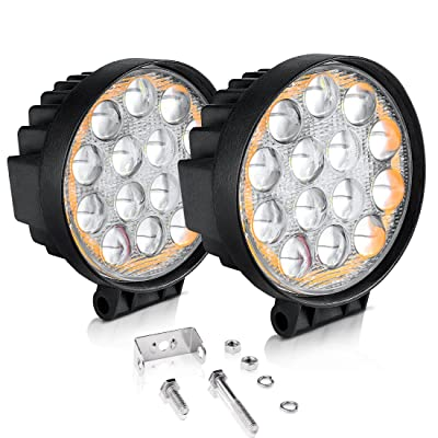"""AUTOSAVER88 5D LED Pods Light Bar, Round 4"""" 60W 6000LM Spot Off Road Super Bright Waterproof 4X4 Driving Running Lights with Amber Fog Lights Circle: Automotive"""