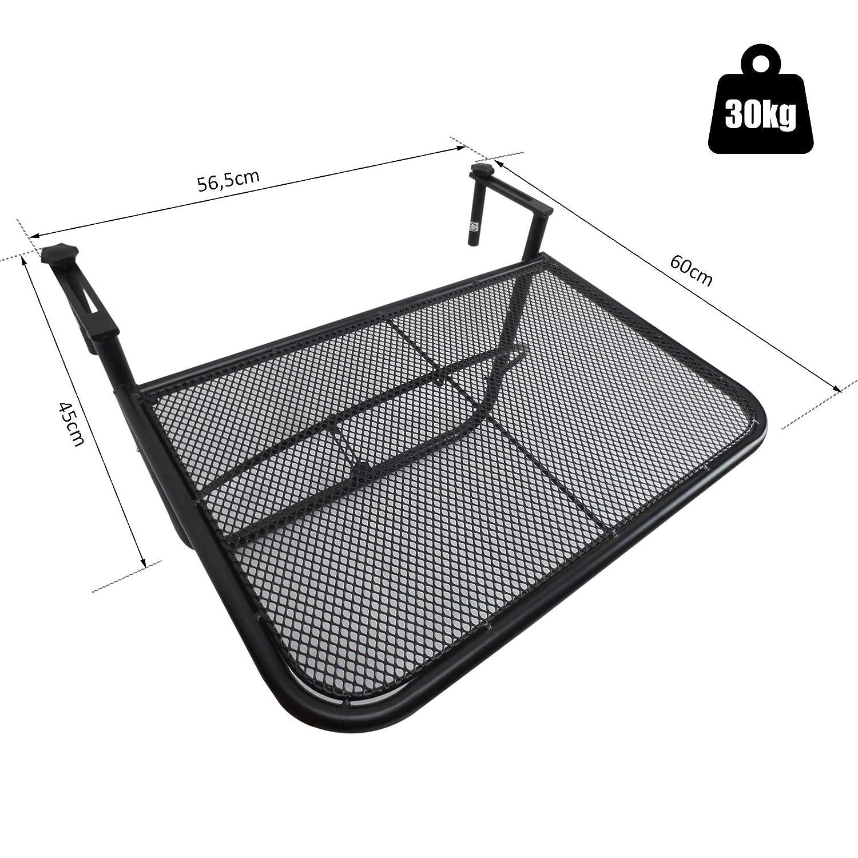 Outsunny Table Suspendue pour Balcon dim 56,5L x 60l cm ...