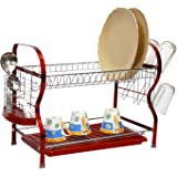 Home Creations Stainless Steel Dish Rack, 2 Layer, Red (30x12x26)
