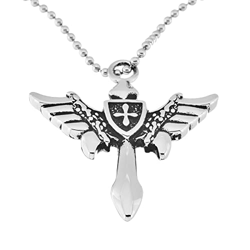 Pori Jewelers Mens Stainless Steel Cross With Wings Pendant In