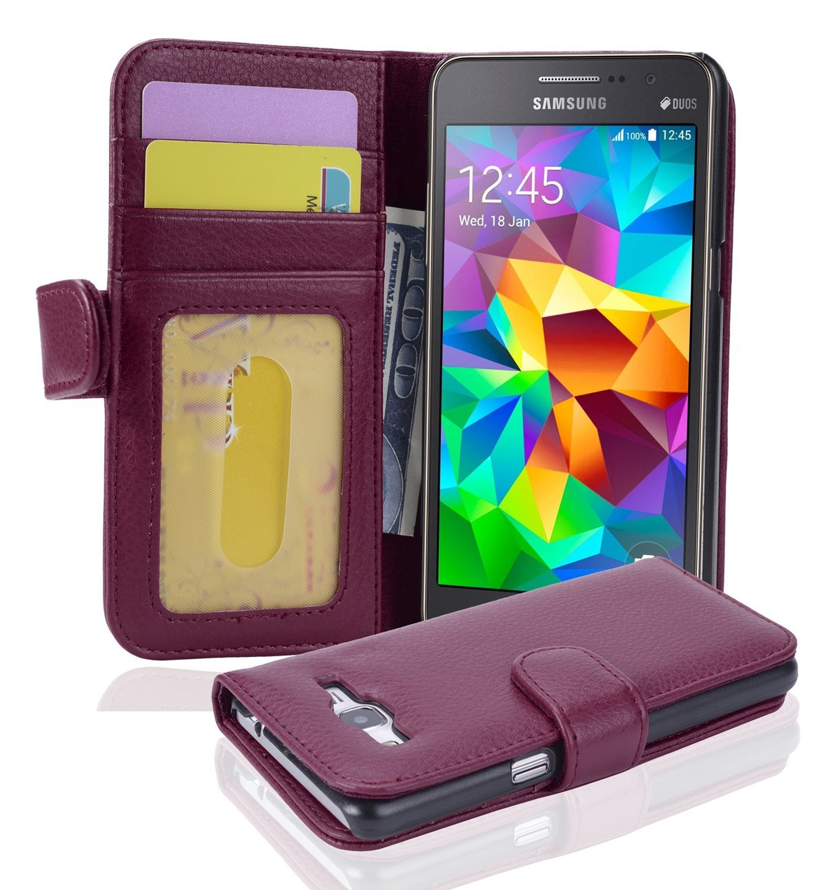 Cadorabo Case works with Samsung Galaxy GRAND PRIME Book Case in BORDEAUX PURPLE – with Magnetic Closure and 3 Card Slots – Wallet Case Etui Cover Pouch PU Leather Soft Flip