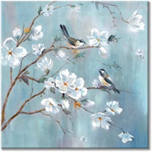 White Floral Canvas Artwork Wall: Elegant Flower Tree and Birds Wall Art Painting for Living Room (20'' x 20'' x 1 Panel)