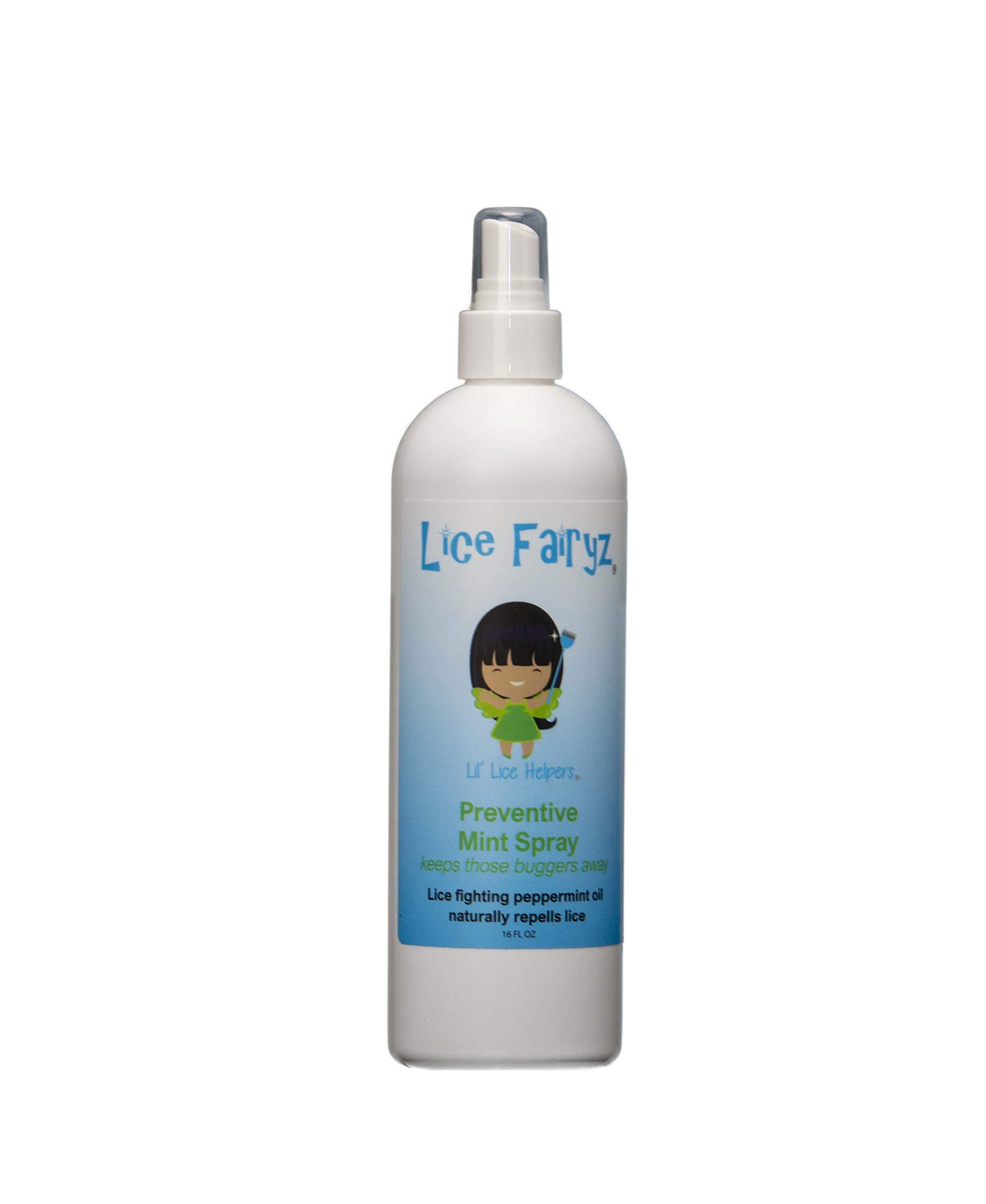 Lice Fairyz Preventive Mint Spray Naturally and Safely Repels Head Lice with 100% Natural Essential Oil. Effective Against Super Lice. Use Before or After Lice Treatment. Non-Toxic. No Pesticides.