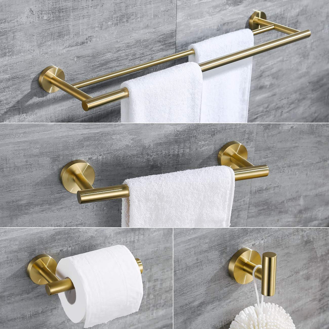 Hoooh 4-Piece Bathroom Accessories Set Stainless Steel Wall Mount Brushed Gold - Includes Double Towel Bar, Hand Towel Rack, Toilet Paper Holder, Robe Hooks, BS100S4-BG