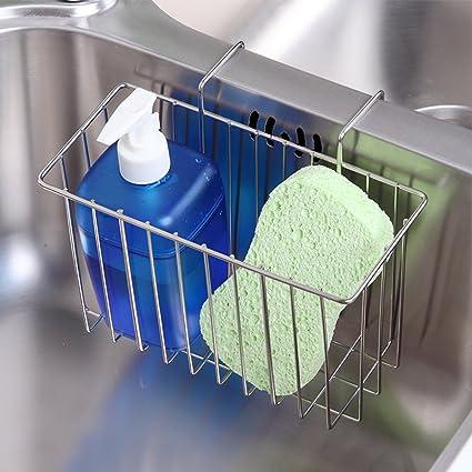 Kitchen Stainless Steel Sponge Holder Sink Dishwashing Soap Brush Drainer Rack