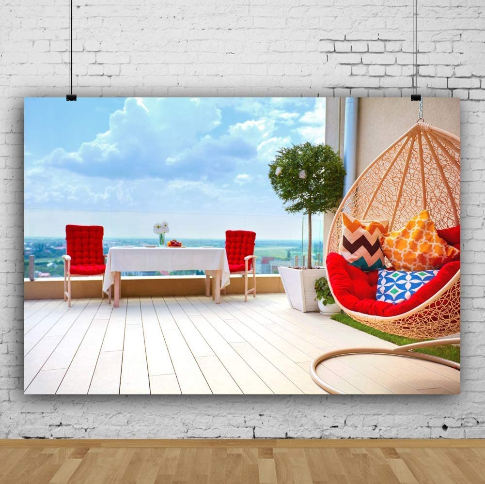 8x6.5ft Vinyl Balcony Spring Landscape Backdrop French Window View Stripes Wood Floor Photography Backgroud Blue Sky Scenery Leisure Life Children Adult Family Lover Portraits