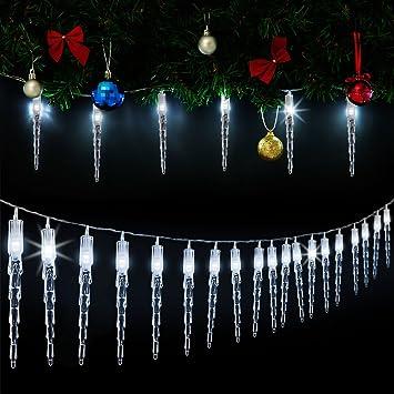 Guirlande lumineuse 80 led noël blanc décoration intérieur et extérieur stalactite ambiance